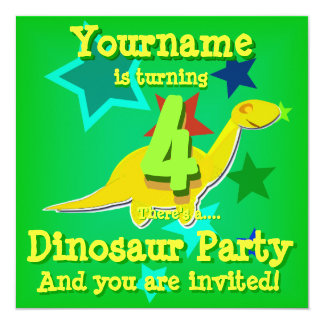 4th Birthday Cartoon Dinosaur Party Invitations