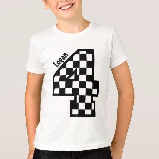 4th Birthday Checkered Four Year Custom Name V01B T-Shirt