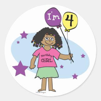 4th Birthday Classic Round Sticker