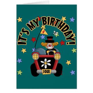 4th Birthday Clown Card