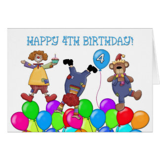 4th Birthday Clowns Balloons Card