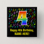 [ Thumbnail: 4th Birthday: Colorful Music Symbols, Rainbow 4 Button ]