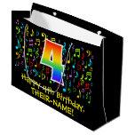 [ Thumbnail: 4th Birthday - Colorful Music Symbols, Rainbow 4 Gift Bag ]