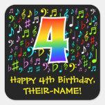 [ Thumbnail: 4th Birthday: Colorful Music Symbols, Rainbow 4 Sticker ]