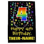 [ Thumbnail: 4th Birthday: Colorful Stars Pattern & Rainbow 4 Gift Bag ]