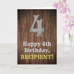 [ Thumbnail: 4th Birthday: Country Western Inspired Look, Name Card ]