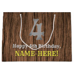 [ Thumbnail: 4th Birthday: Country Western Inspired Look, Name Gift Bag ]