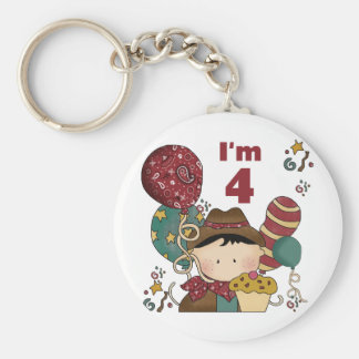 4th Birthday Cowboy Tshirts and Gifts Basic Round Button Keychain
