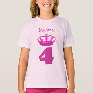 4th Birthday Crown and Big Number Custom Name Girl T-Shirt