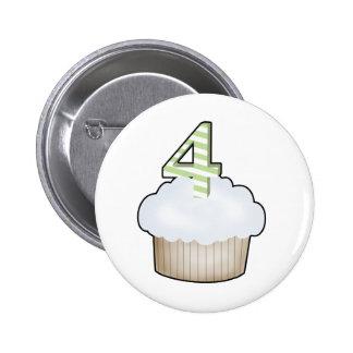 4th Birthday Cupcake 2 Inch Round Button