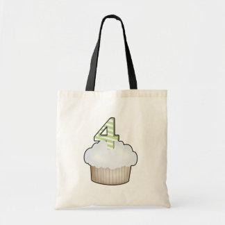 4th Birthday Cupcake Canvas Bag