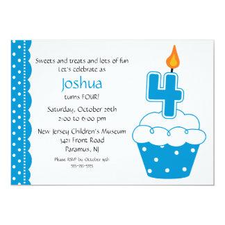 4th Birthday Cupcake Invitation