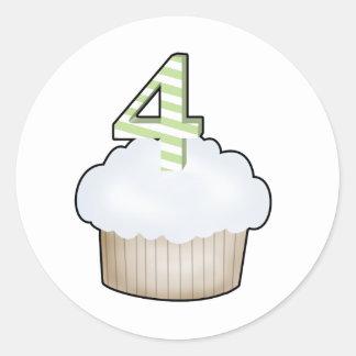 4th Birthday Cupcake Round Stickers