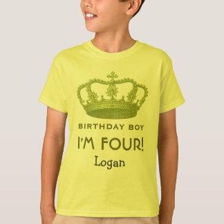 4th Birthday Custom Name Green Crown Gift Idea T-Shirt