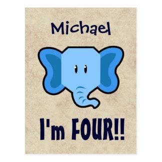 4th Birthday Cute Blue Elephant Face for BOY E04 Postcard