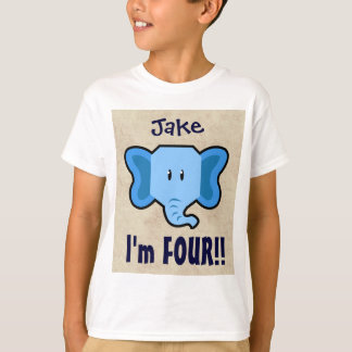 4th Birthday Cute Blue Elephant Face for BOY E04Z T-Shirt