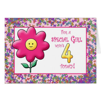 4th Birthday Cute Pink Flower and Smiley Card