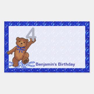 4th Birthday Dancing Bear Scrapbook Rectangular Sticker
