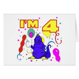 4th Birthday Dinosaur Birthday Card