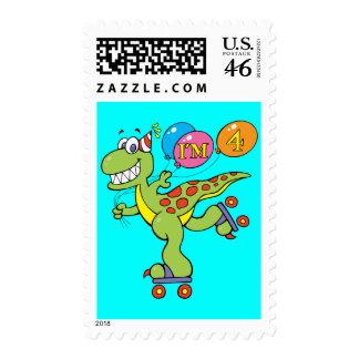 4th Birthday Dinosaur Postage Stamps