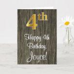 [ Thumbnail: 4th Birthday: Elegant Faux Gold Look #, Faux Wood Card ]