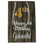 [ Thumbnail: 4th Birthday: Elegant Faux Gold Look #, Faux Wood Gift Bag ]