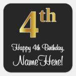 [ Thumbnail: 4th Birthday – Elegant Luxurious Faux Gold Look # Sticker ]