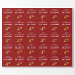 [ Thumbnail: 4th Birthday: Elegant, Red, Faux Gold Look Wrapping Paper ]