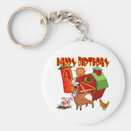 4th Birthday Farm Birthday Keychains