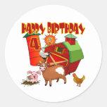 4th Birthday Farm Birthday Round Sticker