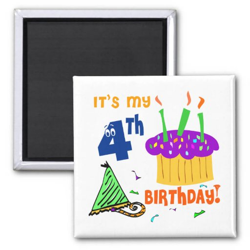 4th Birthday Favors 2 Inch Square Magnet