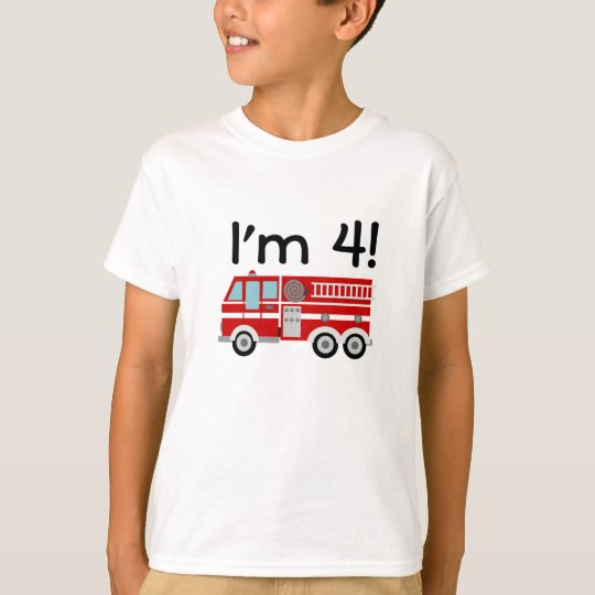 4th Birthday Fire Engine T-Shirt