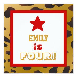 4th Birthday Four Year Old Girl Gold Cheetah Star Card