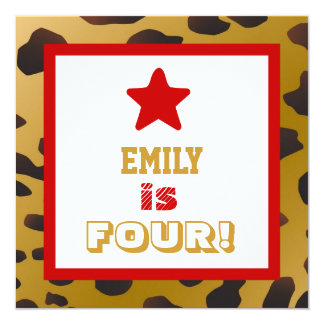 "4th Birthday Four Year Old Girl Gold Cheetah Star 5.25"" Square Invitation Card"