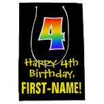 "[ Thumbnail: 4th Birthday: Fun, Bold, Colorful, Rainbow ""4"" Gift Bag ]"