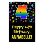 [ Thumbnail: 4th Birthday: Fun, Colorful Stars + Rainbow # 4 Card ]