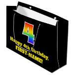 [ Thumbnail: 4th Birthday ~ Fun, Colorful, Vibrant, Rainbow 4 Gift Bag ]