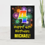 [ Thumbnail: 4th Birthday: Fun Fireworks Pattern + Rainbow 4 Card ]