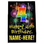 [ Thumbnail: 4th Birthday: Fun Fireworks Pattern + Rainbow 4 Gift Bag ]
