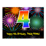 [ Thumbnail: 4th Birthday – Fun Fireworks Pattern + Rainbow 4 Postcard ]