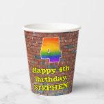 [ Thumbnail: 4th Birthday: Fun Graffiti-Inspired Rainbow 4 ]