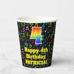 [ Thumbnail: 4th Birthday: Fun Music Notes Pattern, Rainbow 4 ]