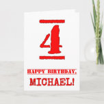 [ Thumbnail: 4th Birthday: Fun, Red Rubber Stamp Inspired Look Card ]