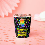 [ Thumbnail: 4th Birthday: Fun Stars Pattern and Rainbow 4 ]