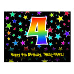 [ Thumbnail: 4th Birthday: Fun Stars Pattern, Rainbow 4, Name Postcard ]