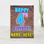 [ Thumbnail: 4th Birthday - Fun, Urban Graffiti Inspired Look Card ]