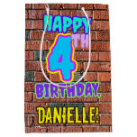 [ Thumbnail: 4th Birthday: Fun, Urban Graffiti Inspired Look Gift Bag ]