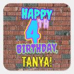 [ Thumbnail: 4th Birthday – Fun, Urban Graffiti Inspired Look Sticker ]