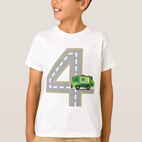 4th Birthday Garbage Truck T_Shirt
