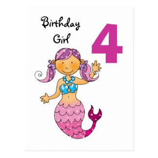4th birthday gift for a girl, cute mermaid postcard